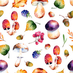 Seamless pattern with autumn leaves,flowers,branches,berries,acorns,blackberries, mushrooms,chestnut.Colorful llustration.Watercolor handpainted texture on white background.Perfect for wallpaper