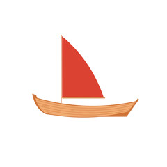 wooden sailboat on white background.