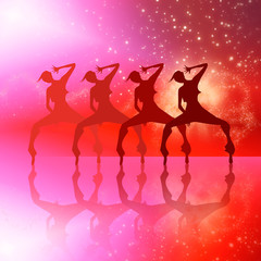 Dancing girls silhouettes illustration. Club dancing girls silhouettes on red galaxy background illustration.