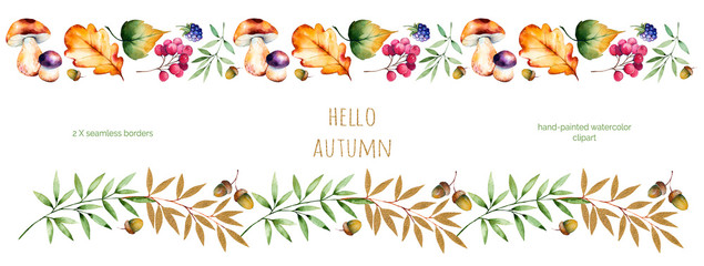 2 Colorful autumn seamless border with autumn leaves,flowers,branch,berries,acorn,mushrooms,blackberries,golden leaves.Colorful illustration.Perfect for frames,quotes,border,blogs,ornaments