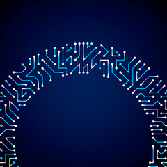 Vector digital technology background with circuit board elements