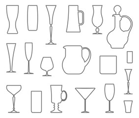 Glasswares. Vector outlines