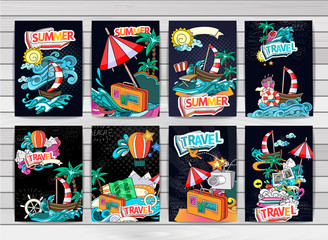 Cartoon style. Summer tourism concept. Voyage, journey and travel. Vacation vector illustration.