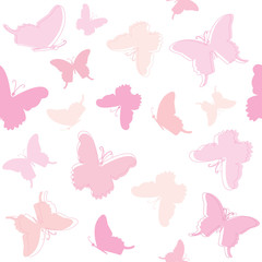Cute seamless pattern with butterflies in pastel pink.