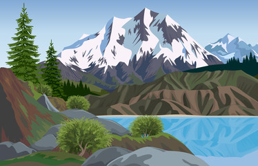 A lake is in mountains. Vector landscape.