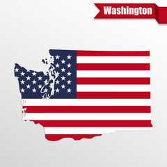 Washington State map with US flag inside and ribbon