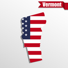 Vermont State map with US flag inside and ribbon