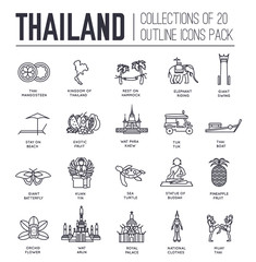 Country thailand travel vacation guide of goods, place and feature. Set of architecture, fashion, people, item, nature background concept. traditional ethnic flat, outline, thin line icon