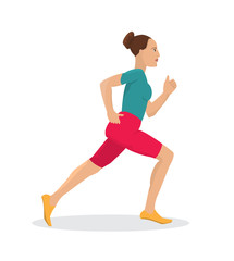 Running young woman.Vector illustration.