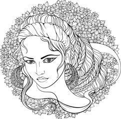girl with decorated hair on floral background.