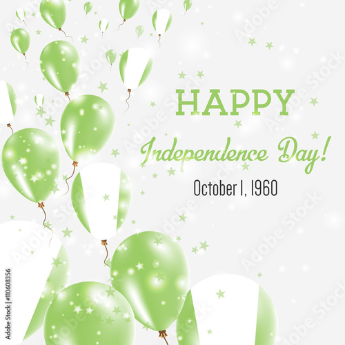 Nigeria Independence Day Greeting Card Flying Balloons In National Colors Happy