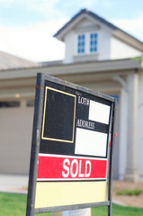 Sold sign on new home