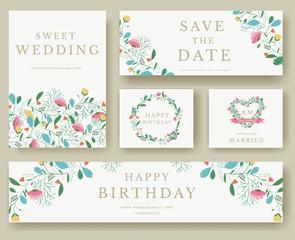 Set of flower invitation cards. colorful greeting wedding invitation card illustration set. Wedding vector design concept