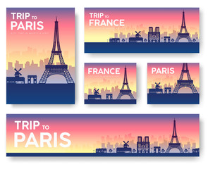 France landscape vector banners set. Vector design illustration