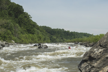 White water kayakers at little falls near lock 5 on the Potomac River