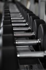 Keuken foto achterwand Fitness Dumbbells on the rack