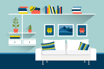 Living room with sofa and book shelves. Flat design vector illustration.