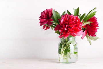 bouquet of peonies on the table