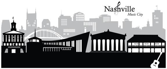 Vector illustration of the cityscape skyline of Nashville, Tennessee