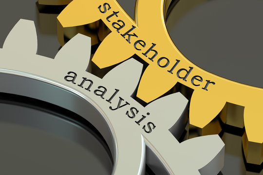 stakeholder analysis concept on the gearwheels, 3D rendering