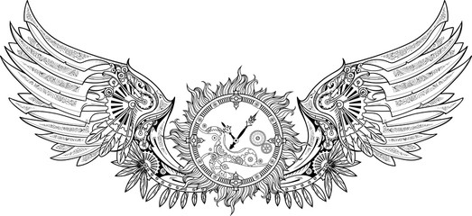 Mechanical wings made in steampunk style with clockwork.