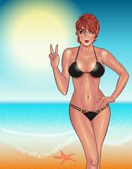 Beautiful young woman with perfect body in black bikini resting on the beach,  Sexy girl. Beach girl. Summer girl. Bikini girl. Summer time. Hot girl. Perfect body.