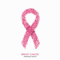 Vector modern breast cancer awareness circles desigen