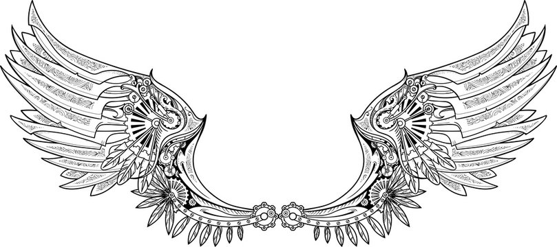 Mechanical wings made in steampunk style.