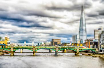 River Thames and, Bridges, London, UK. Tilt-shift effect applied