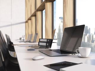 Blank laptop on desktop