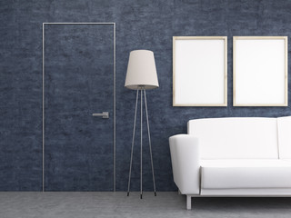 Furnished interior with blue wall