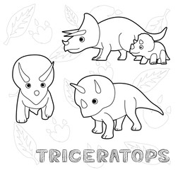 Dinosaur Triceratops Cartoon Vector Illustration Monochrome