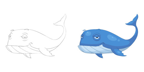 Creative Illustration and Innovative Art: Animal Set: Sketch Line Art and Coloring Book: Blue Whale. Realistic Fantastic Cartoon Style Character Design, Wallpaper, Story Background, Card Design