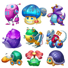 Creative Illustration and Innovative Art: Monster Machine Animal Creature Set 3 iSolated on White Background. Realistic Fantastic Cartoon Style Character Design, Wallpaper, Story, Card Design