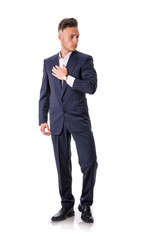Full length shot of elegant young man with suit