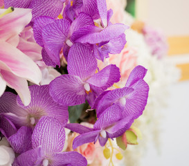 Beautiful bouquet of orchid with blur background