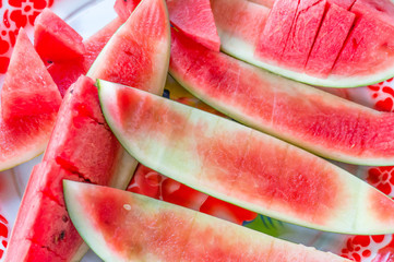 The watermelon into chunks, fruit for summer