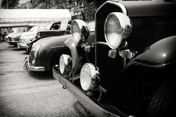 Recess Fitting Vintage cars Black and white photo of classic car- vintage film grain filter effect styles
