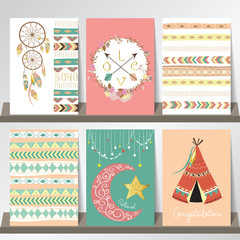 Light green gold pink card template in boho style on summer with
