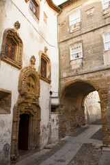 Narrow street of the Historic center of Coimbra, Portugal.