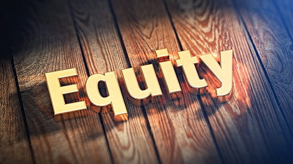 Word Equity on wood planks