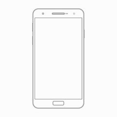 Vector smartphone outline template. Phone icon
