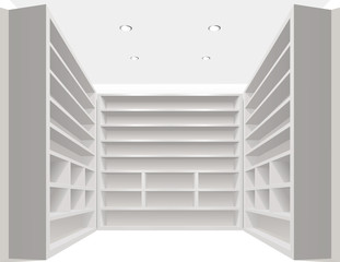 White empty book shelves