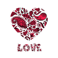 Floral heart made of flowers.Doodle Heart. Valentines day card. Vector illustration.