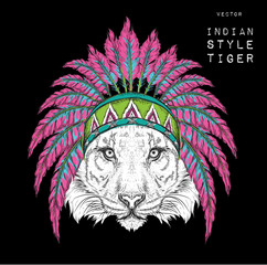 tiger in the colrful Indian roach. Indian feather headdress of an eagle. Hand draw vector illustration