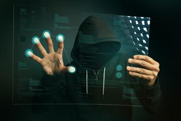 Fingerprint identification app on futuristic tablet computer dev