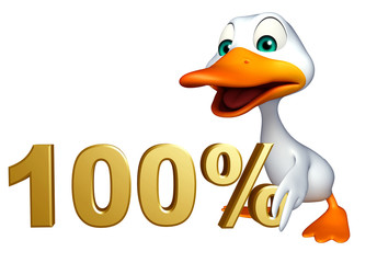 cute Duck cartoon character with 100% sign