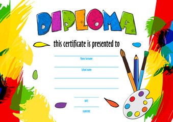 vector  childrens diploma for delivery on a creative contest in kindergarten or school. diploma of childrens paint brushes and palette for artists. Vector background