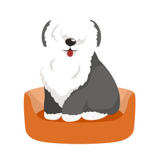 vector cute pet bed, place for sleeping dog isolated