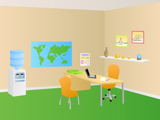Travel agency office room green orange interior table chair illustration vector